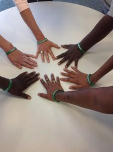 GreenWristband Hands